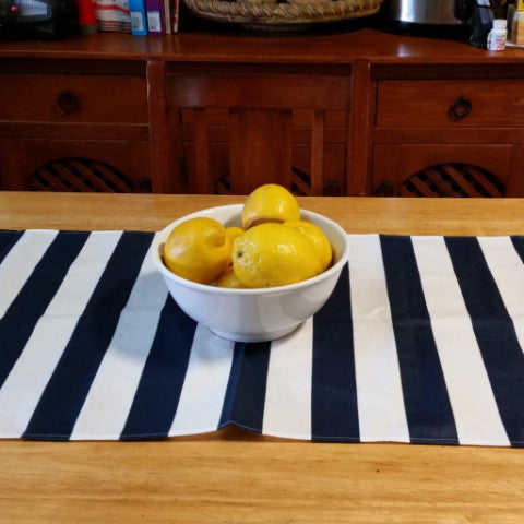 Navy Blue & White Stripe Table Runner - Gypsy Tableware Designs