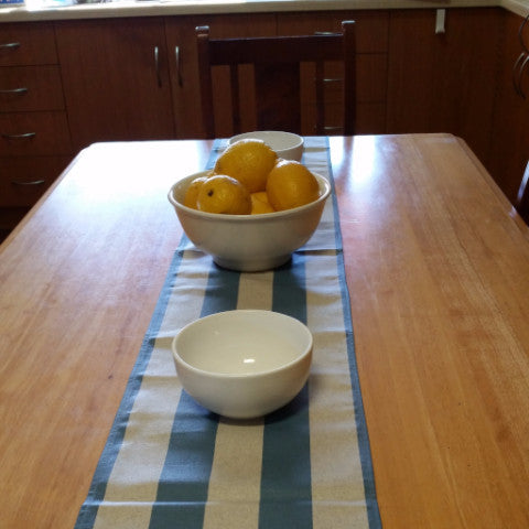 Blue & Ecru.Stripe Table Runner - Gypsy Tableware Designs