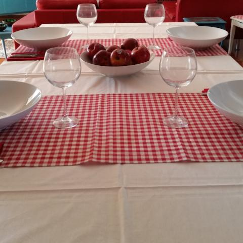 Bordeaux Red Check Runner - Gypsy Tableware Designs