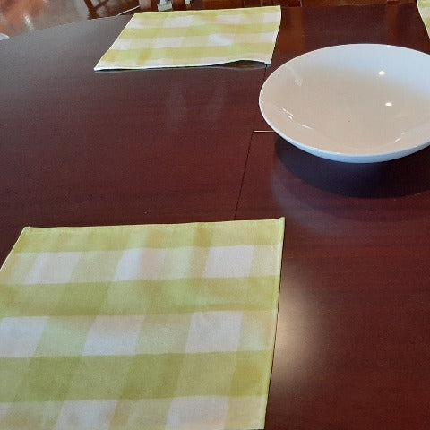 Lime Green Check Place Mats