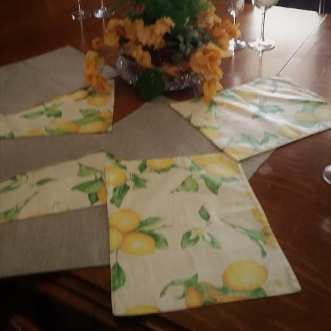 Lemon & Silver Taupe Reversible Placemats - Gypsy Tableware Designs