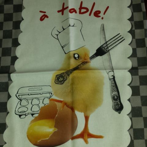 Chicken and Egg Teatowel - Who Came First? - Gypsy Tableware Designs