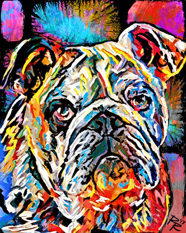 Bulldog Art, Pet Painting, Dog Art