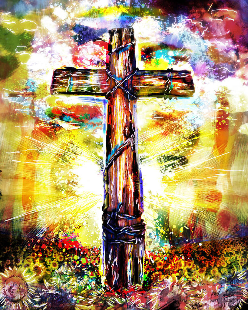 Christian cross art cross canvas christian painting for Cross paintings on canvas