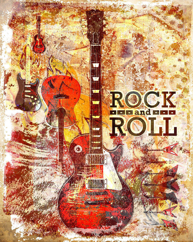 rock and roll artwork guitar art print rock n roll sparkartwork