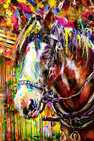 Horse Art Print, Equestrian Painting