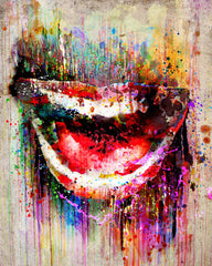 Smile Artwork, Mouth art print, Lips painting
