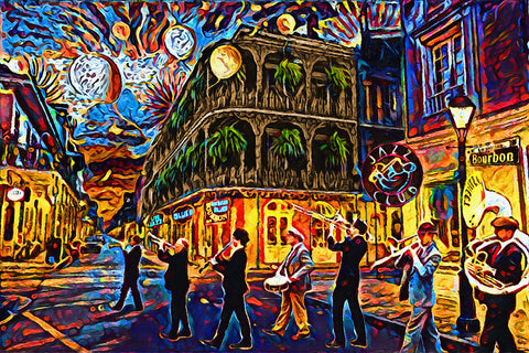 New Orleans Art Print, Mardi Gras Painting