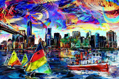 New York Art Print, NY Skyline Canvas