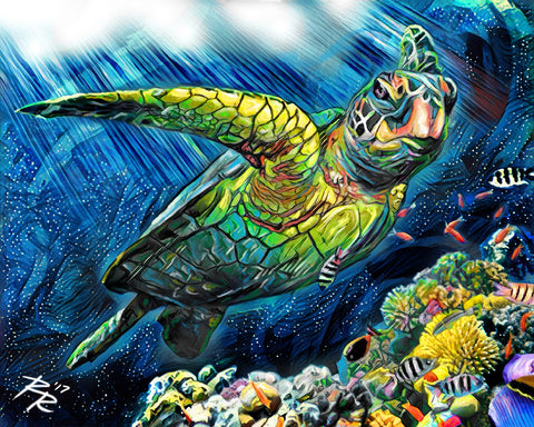 Sea Turtle Art, Ocean Canvas, Turtle Art Print