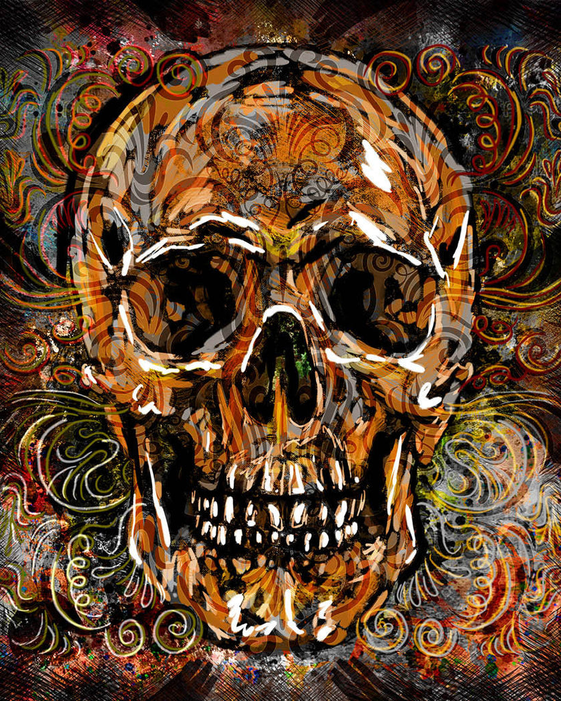 skull art print sugar skull canvas day of the dead painting