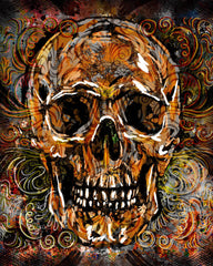 Skull Art Print, Sugar Skull Canvas, Day of the Dead painting