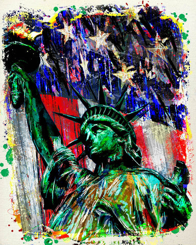 Statue of Liberty Art Print, USA Art, American Flag painting