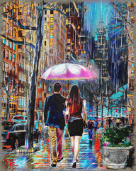 Umbrella Couple Art, Rainy Day Painting, Romantic Walk in the Rain