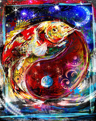 Koi Ying Yang Art, Fish Painting, Koi Art
