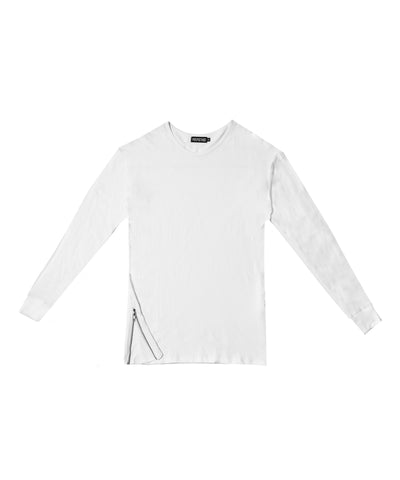 Zipper Split Long Sleeve // White