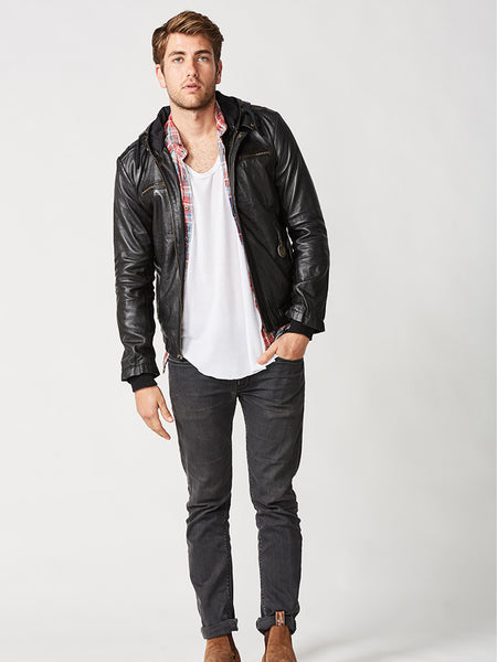 The St Moritz Hoodie Leather Jacket – Mens
