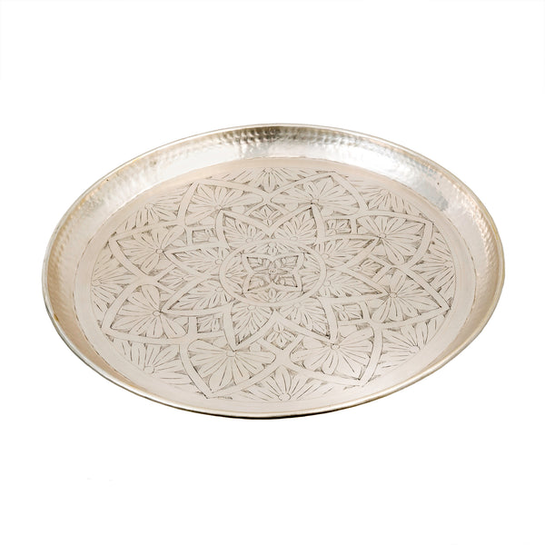 Mandala Brass Tray with Silver Finish