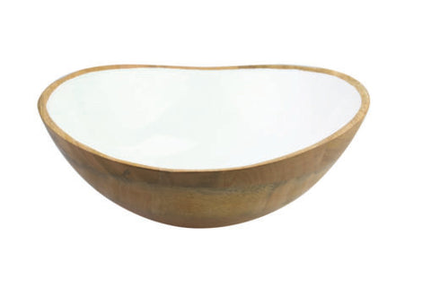 Mango Wood and Enamel Serving Bowl
