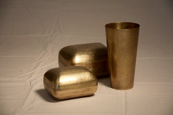 Brass Pillow Box and Cup
