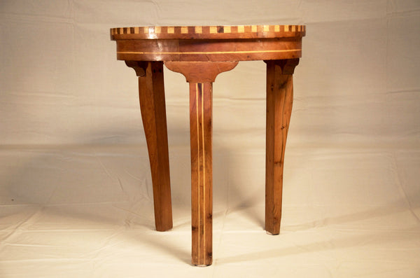 Round Inlaid Wood End Table