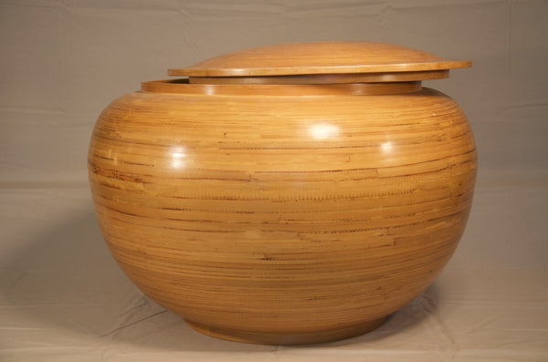 Hand made and spun bamboo round container with fitted lid, Vietnam