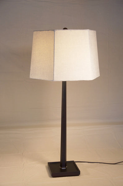 Ebony Wood Table Lamp with Linen Shade