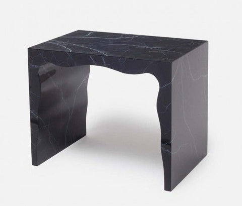 Black Marble Lacquered Bench