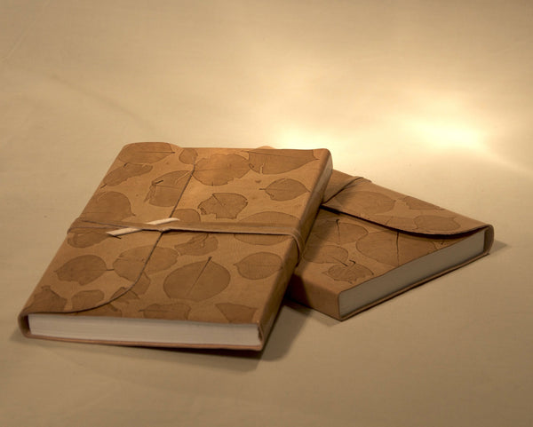 Leather Embossed Leaf Notebook