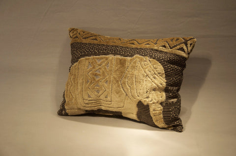 Lumbar Pillow with Elephant Fabric, Custom Design