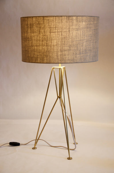 Tripod solid brass table lamp
