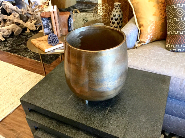 Bronze Colored Cache Pot, Large