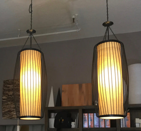 Custom Designed Wrought Iron Pendant Lamp (Pair)