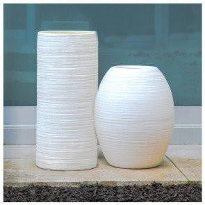 "Ishi Oval White Planter, 19"" Height"