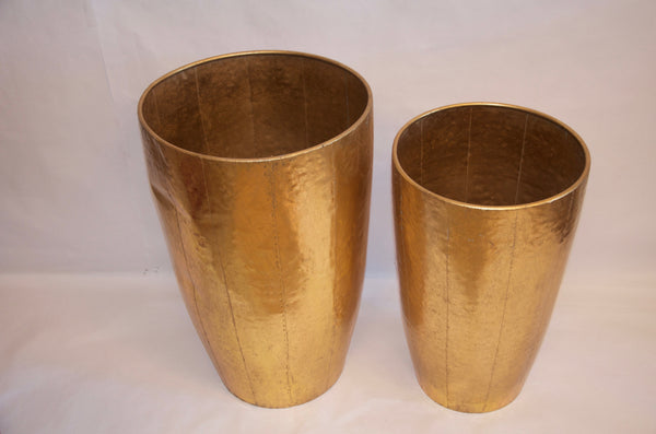 Gold leaf, hammered metal planter