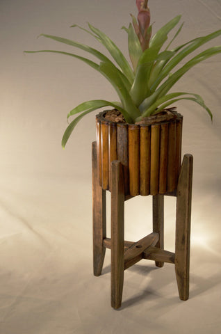 Round Bamboo Planter with Stand