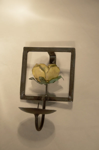 Metal Wall Candle Holder with Rose, Handmade