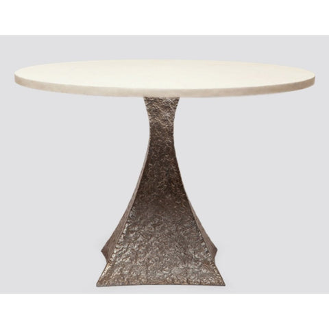 Textured Round Table with Hammered Metal Tapered Base