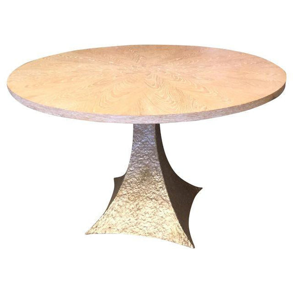 Round Wood Table with Tapered Base