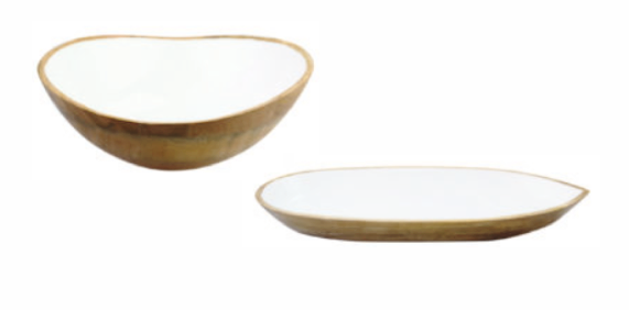 Mango Wood and Enamel Serving Bowl and Dish