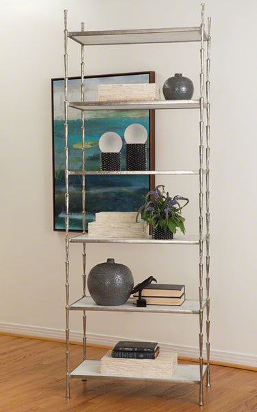 Spike Etagere in Antique Nickel Finish with White Marble Shelving