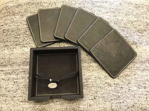 Black Leather Coasters/ Boxed Set of 6