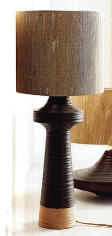 Striated Stoneware Tall Lamp, Jute Shade