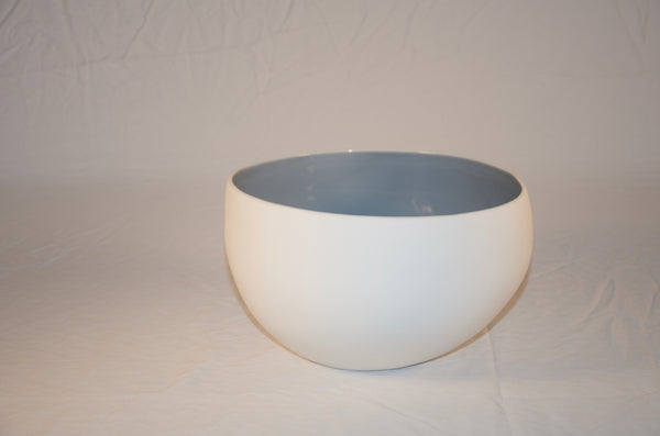 White Earthenware Nesting Bowls with White or Blue Interior