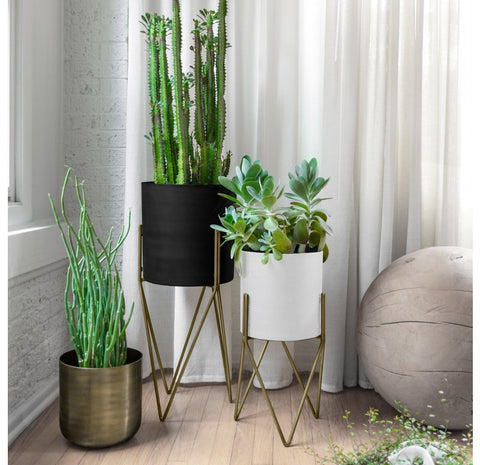 Mid Century Modern Planter with Stand