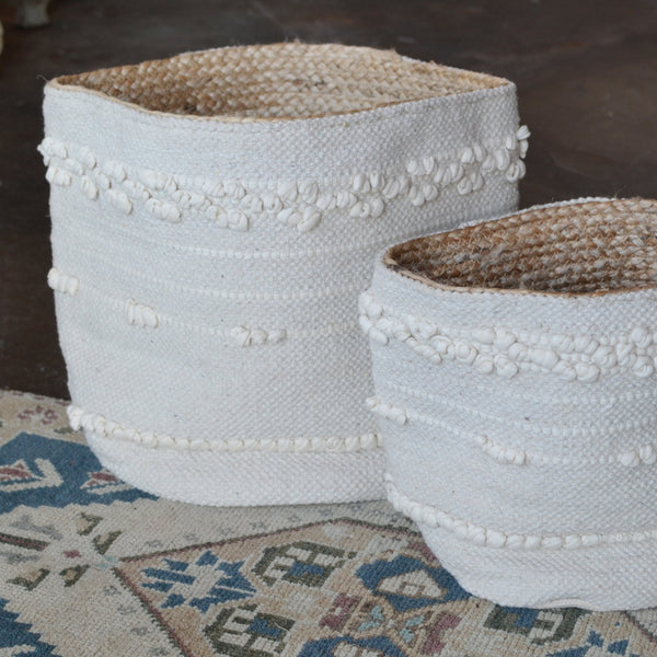Ivory Cotton and Jute Basket