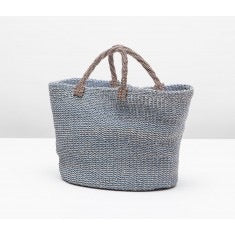Blue Market Bag with Twisted Handle