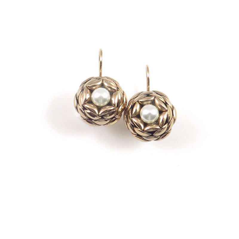 Camellia Earrings W/ One Medium Pearl Copper Zinc 14k Gold