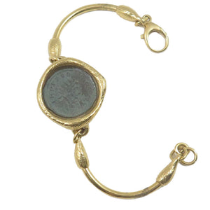 Bracelet One Roman Coin Bronze 18kt gold coating