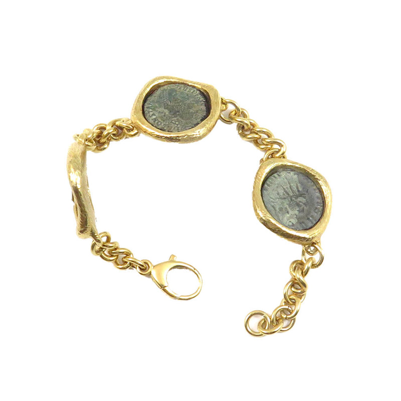 Bracelet W/3 Bronze Roman Coins with 18kt gold coating